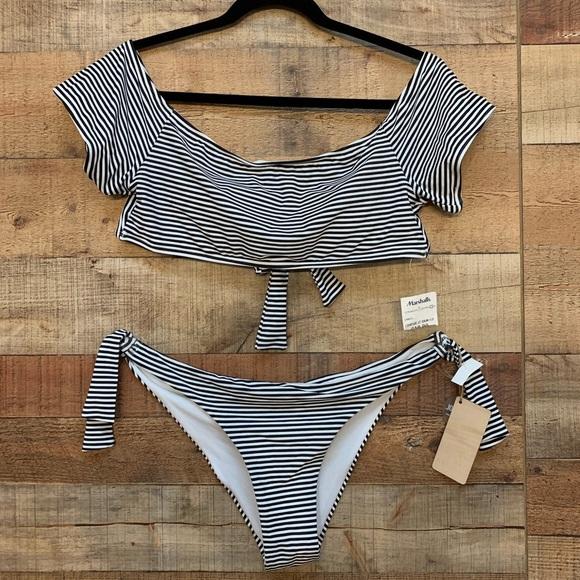 02732affe1480 Cabana del Sol Off The Shoulder Striped Swimsuit.